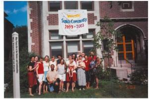 group under banner